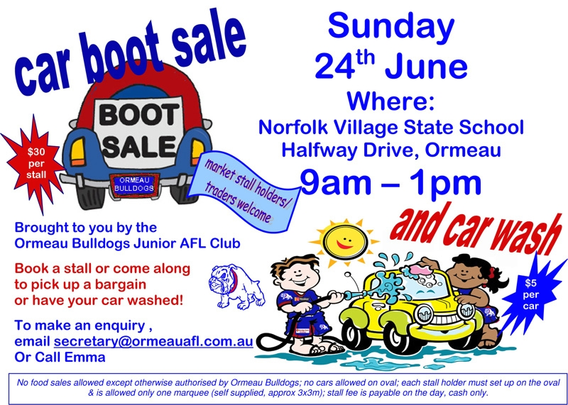 Car Boot Sale Fundraiser – Car for Sale Flyer
